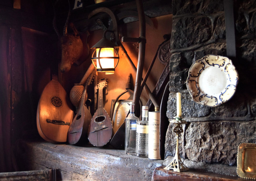 The music bar - old instruments in the White Horse at Colmore