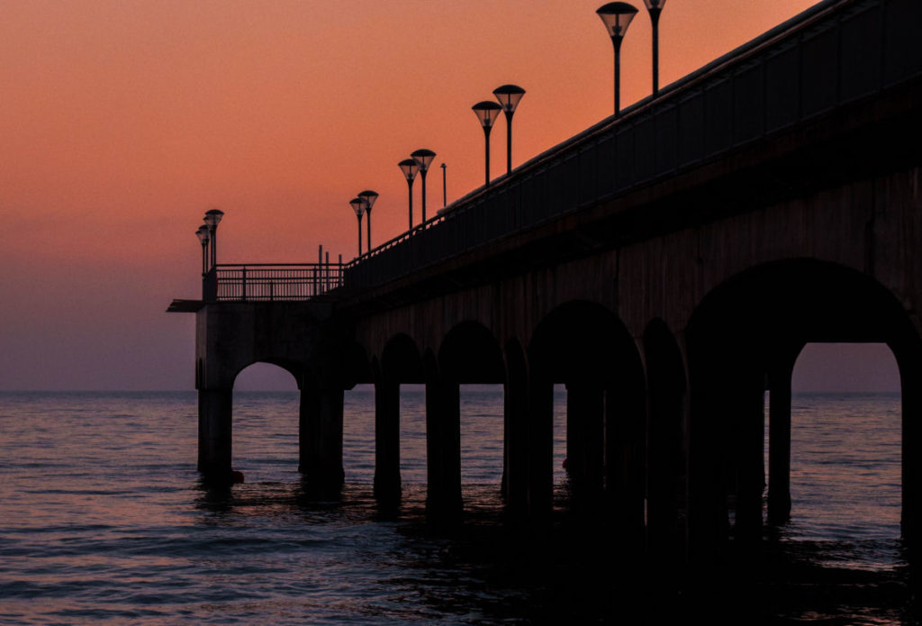 Boscombe pier at sunset