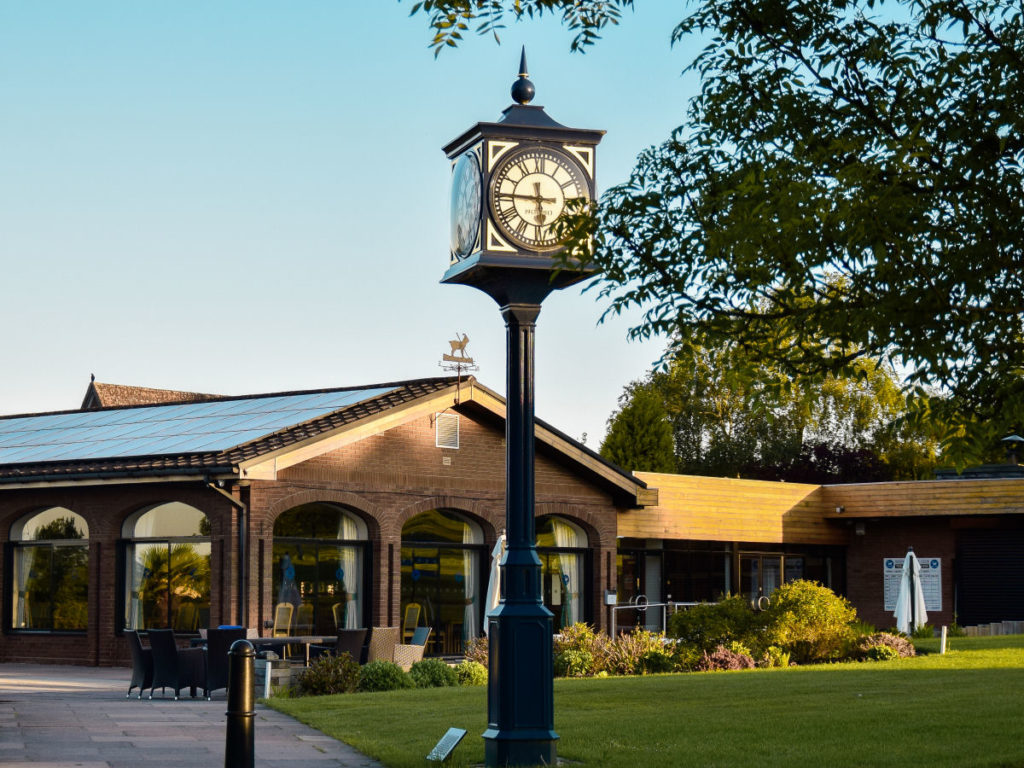The clock by the clubhouse